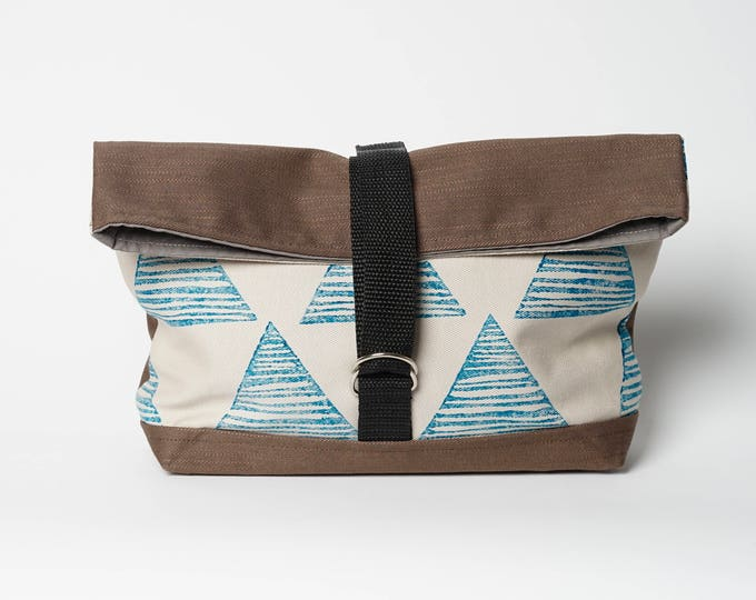 Hand printed Roll Bag - Green Triangle