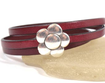 Burgundy Leather Wrap Bracelet with Antique Silver Magnetic Flower Clasp  (5F-527)