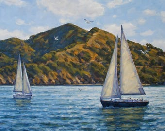 Sailing by Angel island, Original Oil Painting on Canvas, Size 36x18 inches.