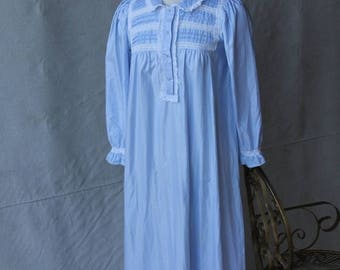SAVE 50% off SALE Soft Baby Blue White Lace Trimmed Maxi Length Night Gown Cuddleskin Collection by Character by Neiman Marcus size Medium