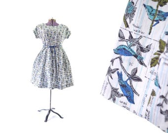 1950s dress, 50s dress, large dress, vintage clothing, vintage dress, day dress, vintage 1950s dress, rockabilly dress, cotton, bird print