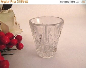 Shot Glass Decorative Vase Toothpick Holder Vanity Table Dish Vintage 1940's Art Deco Starburst Pressed Glass