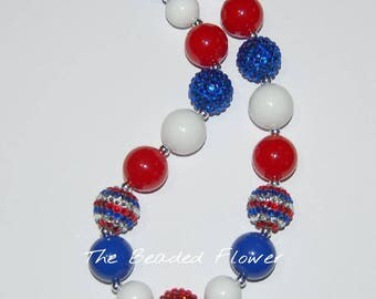 4th of July patriotic bubblegum chunky necklace red white blue