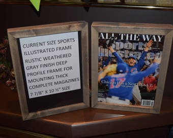 FREE SHIPPING Current size Sports Illustrated magazine frame deep profile solid rustic wood weathered finish