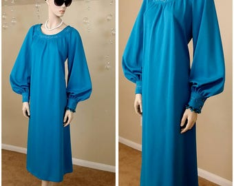 Vintage 60s dress handmade aqua color,maxi dress