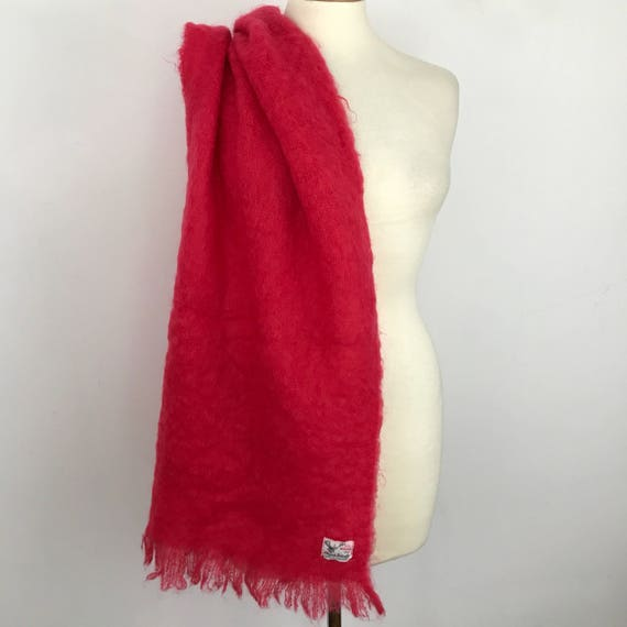 1960s vintage mohair scarf Scottish Wide fluffy wool Wrap shawl 50s 60s fringed hot pink fuscia