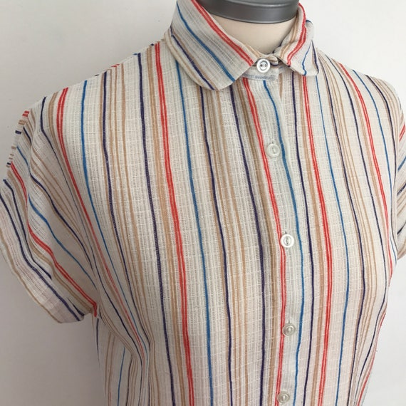 Vintage shirt striped blouse square cut oversized blouse silk polyester mix 1980s sheer loose weave 80s utility UK 12 14