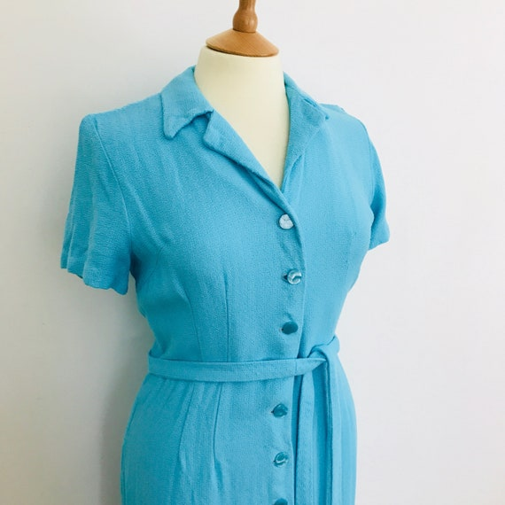1950s dress turquoise blue linen moygashel shirt dress 1960s UK 12 14 handmade 60s vintage wedding bright midcentury GoGo 50s shift