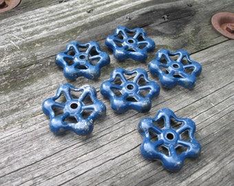 6 vintage valve handles 2 in faucet spigot water aluminum blue small