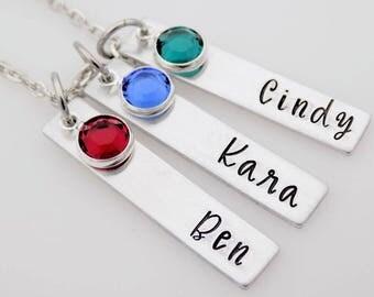 Mom Grandma Necklace mother's day gift mom grandma nanna nanny Handmade Jewelry handstamped jewelry birthstones custom personalized names