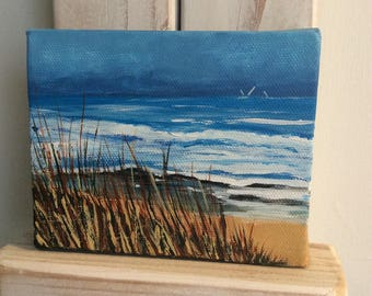 "View fom the coastpath...Original acrylic on canvas. 5"" x 4"". Painting/Art. Seascape/sky/sea/beach/sand/sea/waves/grasses/Cornwall."