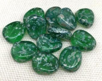 20 Green Picasso Czech Glass Beads 12mm