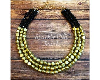 Gold and BlackColor Block Necklace