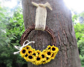 Sunflower Wreath- Front Door Wreath-  Summer Grapevine Wreath- Housewarming Gift- Sunflower Wedding- Rustic Wall Decor- Party Decoration