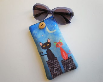Glasses case, sunglasses case, glasses sleeve, cat glasses sleeve, eyeglasses case, cat, quilted eyeglass case, sunglasses sleeve
