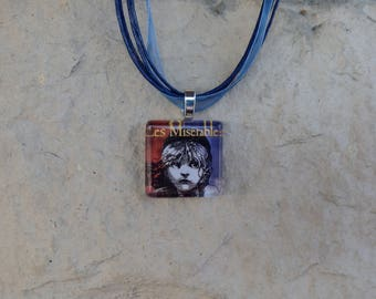 Broadway Musical Les Miserables Glass Pendant and Ribbon Necklace