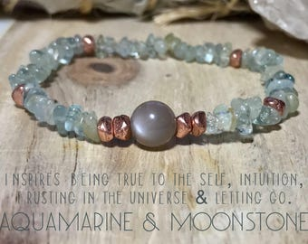 Aquamarine & Moonstone bracelet.