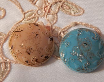 Caramel and Turquoise Glass Victorian Buttons - Floral Design