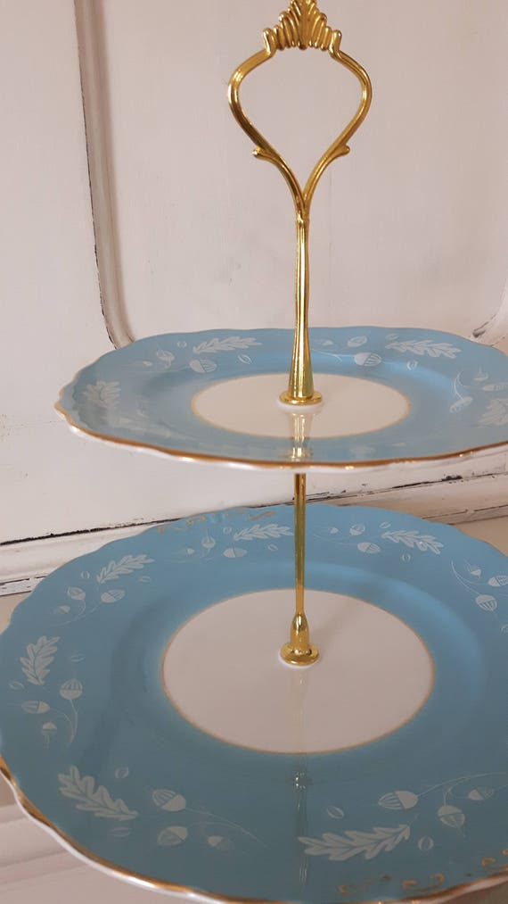 Vintage china cake stand, trinket stand, beautiful sugary blue and white design