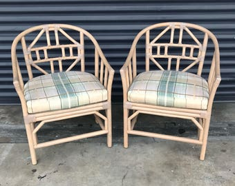 Vintage Pair of Rattan Brighton Style Chairs