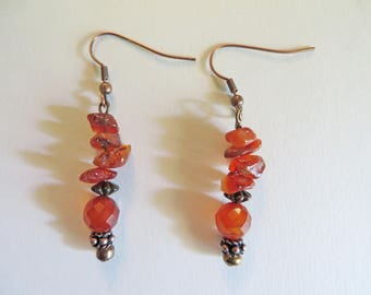 Faceted Carnelian 6mm Gemstone Dangle Earrings with Carnelian Chips and Copper Spacers