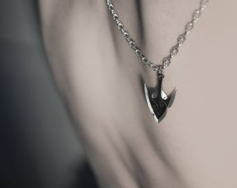 Silver Arrow Tip Pendant Necklace Spear Weapon Jewelry