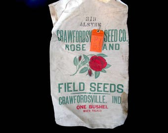 Heavy Burlap or Canvas Seed Bag, Feed Bag, Rose Brand, Field Seeds, Bushel Bag, Crawfordsville, Indiana, Tagged 1963