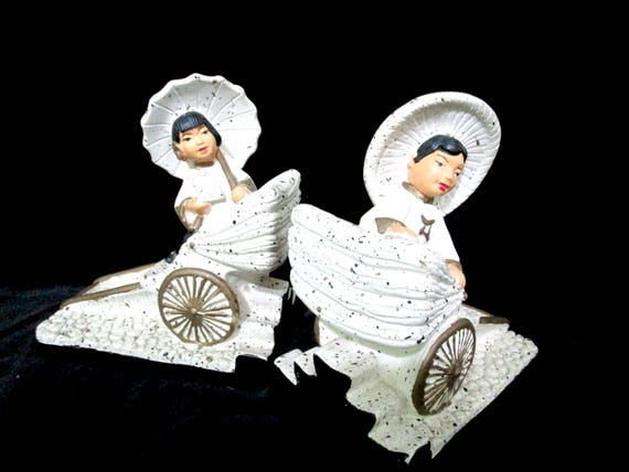 Mid Century Bookends, Asian Bookends, Boy and Girl on Rickshaws, Chalkware Bookends, Universal Statuary 1955