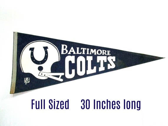 Vintage Baltimore Colts Pennant, NFL Pennant, Baltimore Colts Collectibles, Full Sized, Late 1960s