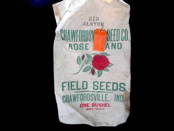 Heavy Burlap or Canvas Seed Bag, Feed Bag, Rose Brand, Field Seeds, Bushel Bag, Crawfordsville, Indiana, Tagged 1963