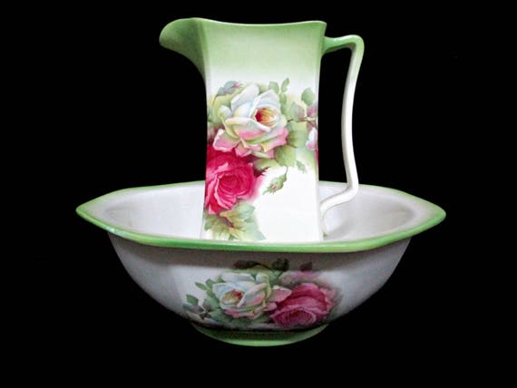 Antique Newhall Pitcher and Basin, Staffordshire England, Bath Set, Large Pink Roses, Green Trim, Romantic Cottage Decor