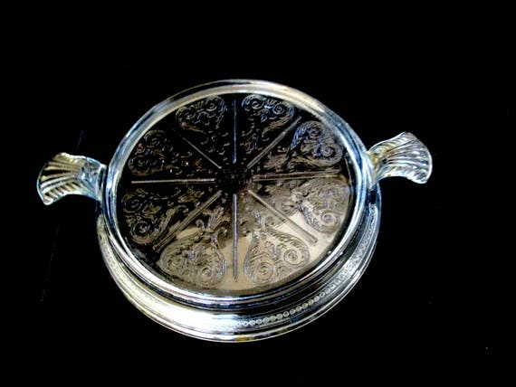 Vintage Fire King Hot Plate or Trivet, Clear Glass, Round Embossed Design, Modern Farmhouse Kitchen