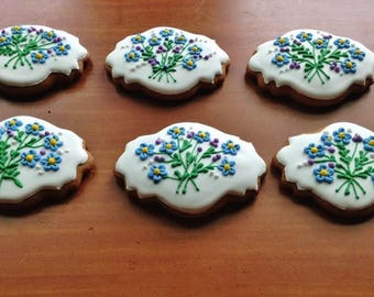 Forget-me-not plaque.Icing decorated Hungarian gingerbread cookies (3 pieces)