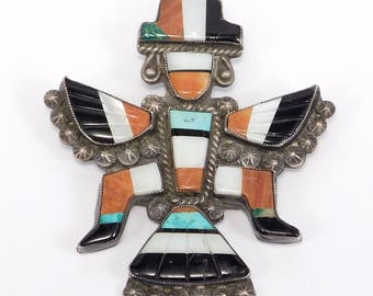 Large Old Zuni Knifewing Inlay Pawn Silver Brooch