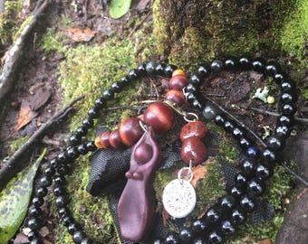 Goddess Mantra Mala ~ Customized 108 Metal Stamped Mala Meditaton Prayer Beads
