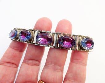 Pink and Blue Bi Color Rhinestone Bookchain Link Bracelet