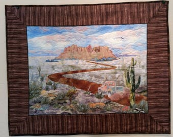 "Landscape Quilt- ""Road to Riches"" -  Arizona's Superstition Mountains with an old truck"