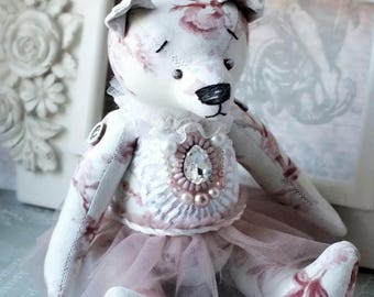 Silvia- Fabric toy / Shabby chic / Bear Vintage / Gift / Interior decor