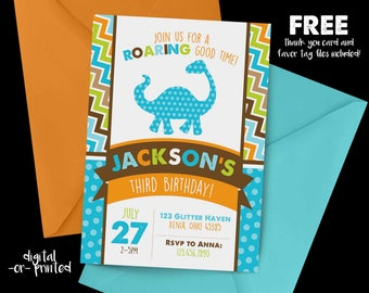 Dinosaur Birthday Invitation, First Birthday Invitation, Dino Birthday, Chevron Birthday Invitation, Dinosaur Party
