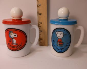 Avon Snoopy And Charlie Brown 1969 Liquid Soap Mugs Red Baron Milk Glass. epsteam