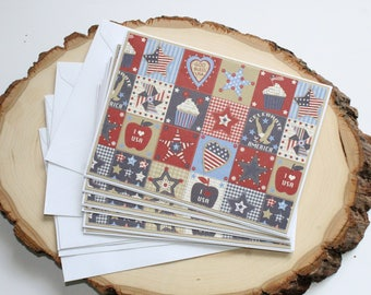 Americana Patchwork Card Set - Thank You Card Set - Greeting Card Set - Hello Cards - Encouragement Cards - Blank Card Set of 6