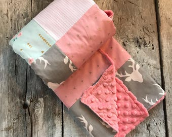 Baby crib blanket, quilt style , forest animals (raccoons, owls, bears) pink, yellow and grey, minky or faux fur on the back side