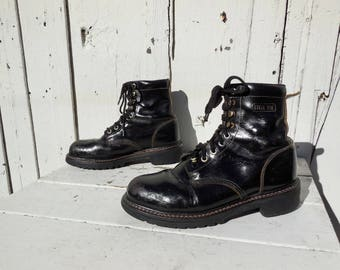 STEEL Toe Boots/Mens Work Boots/Combat Boots/Distressed/Steampunk/Black Leather Boots/Biker Boots/Chukka Boot/TEXAS STEER/Mens Size 9.5