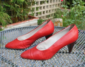 Vintage Maud Frizon Red Faux Snake Skin 1980s Shoes Size 5