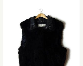 ON SALE Vintage Black Opossum Fur x Leather trim Zip up Vest from 80's/hippies/minimalist*