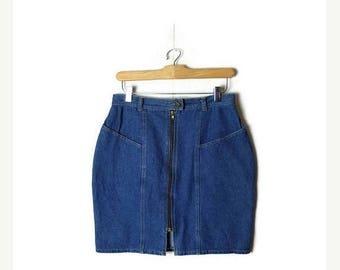 ON SALE Vintage High waist Denim Zip up Mini Skirt/Pencil Skirt from 1980's/W27*