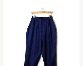 ON SALE Vintage Blue High Waist tapered Slouchy Pants from 1980's/W26-32/Minimalist*
