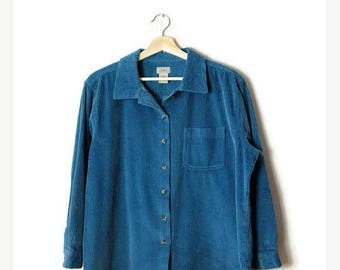 ON SALE Greenish Blue Corduroy Long Sleeve Blouse /Shirt from 90's*