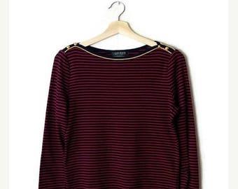 ON SALE Ralph Lauren Red x Navy Stripe  Cotton  Long sleeve T-shirt/Blouse*