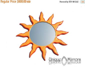 ON SALE 33 % Decorative Wall Mirror orange and yellow sunburst mirror round mirror EXTRA Large Wall Mirror round mirror sun mirror large rou